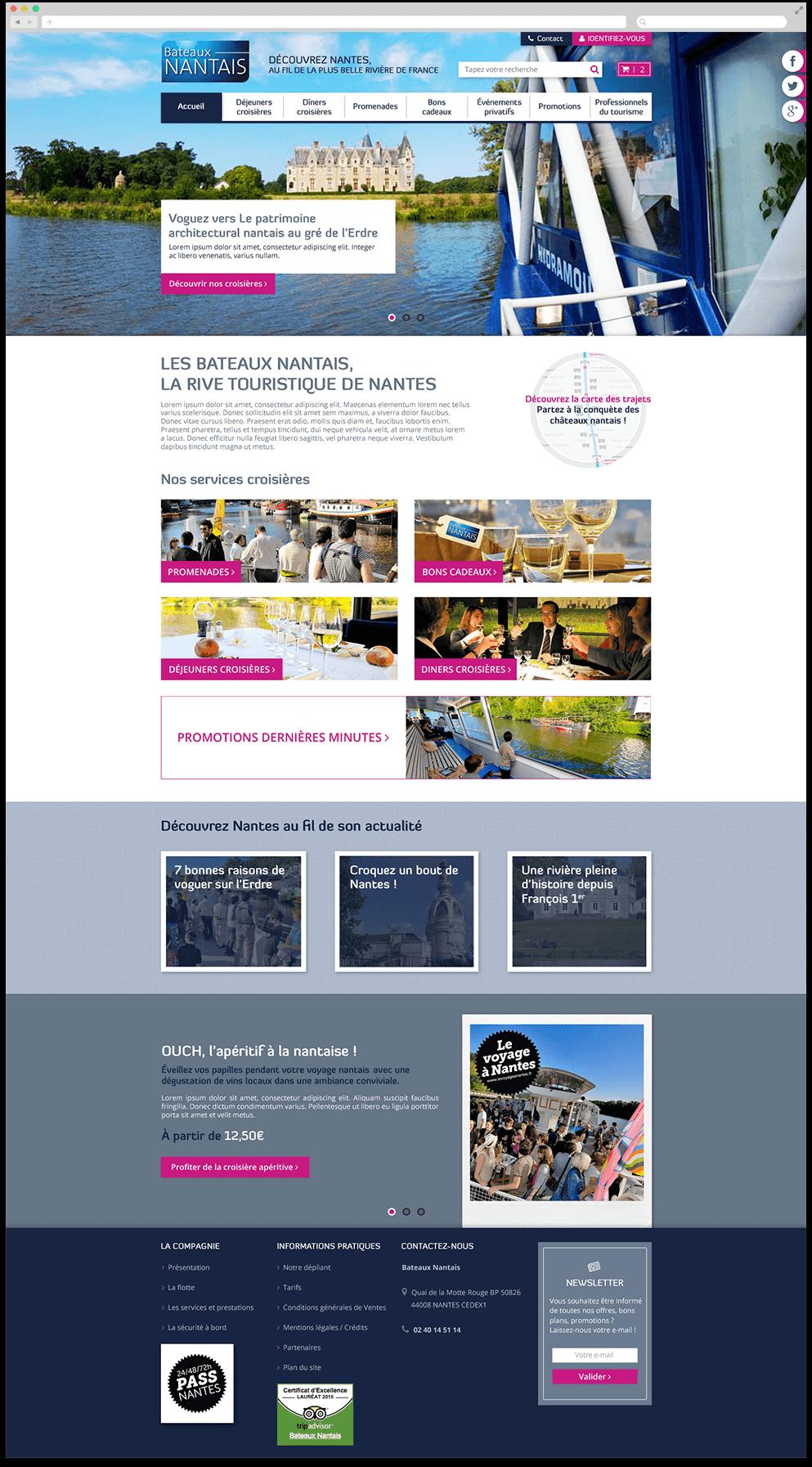 Image de la page d'accueil du site E-commerce des Bateaux Nantais