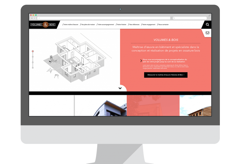 Webdesign du site vitrine de Volumes & Bois