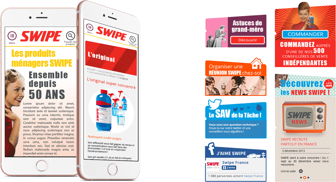 Modules mobile du site marque Swipe