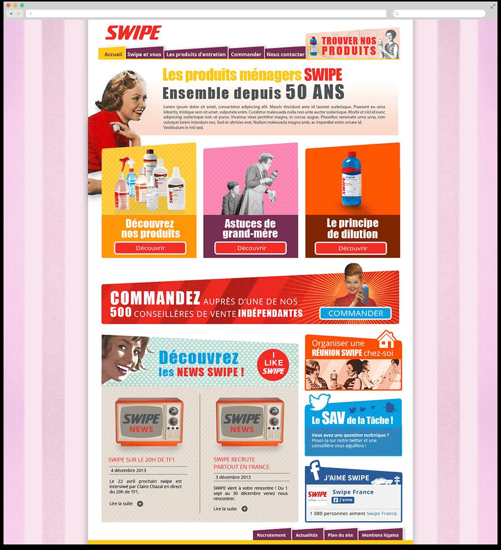 Page d'accueil du site marque Swipe