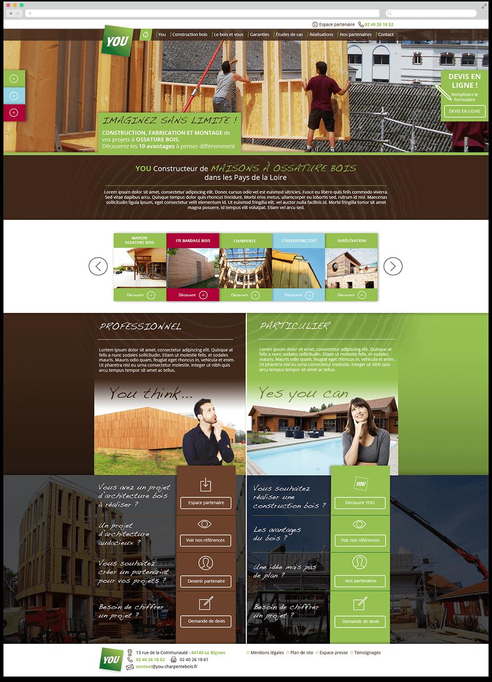 Page d'accueil du site vitrine de l'entreprise You